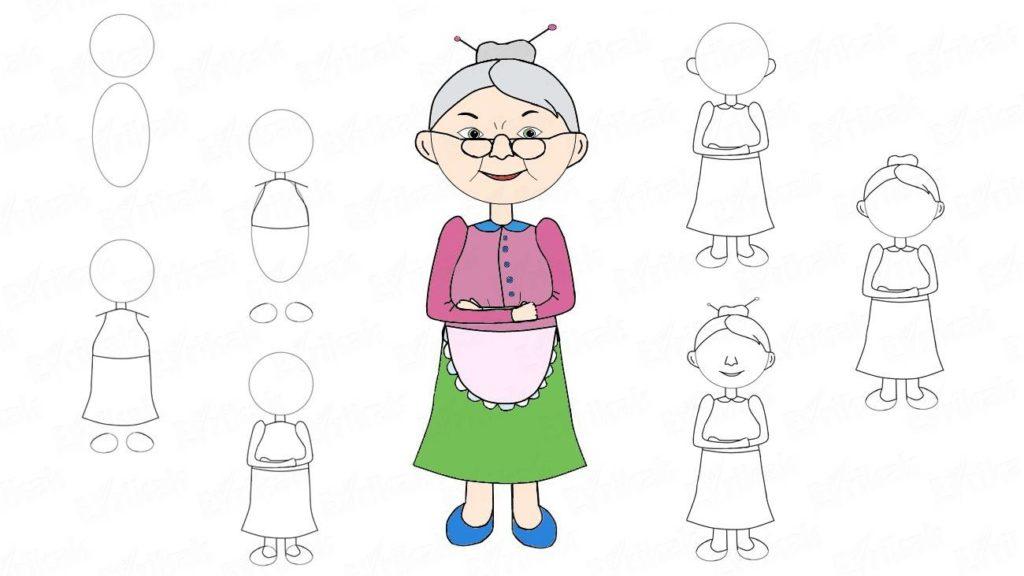 Как нарисовать бабушку поэтапно своими руками