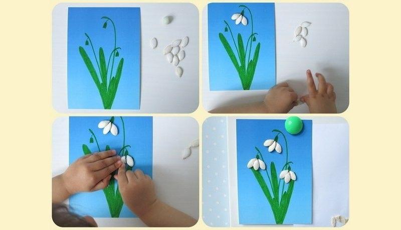 Аппликация подснежники из тыквенных семечек своими руками