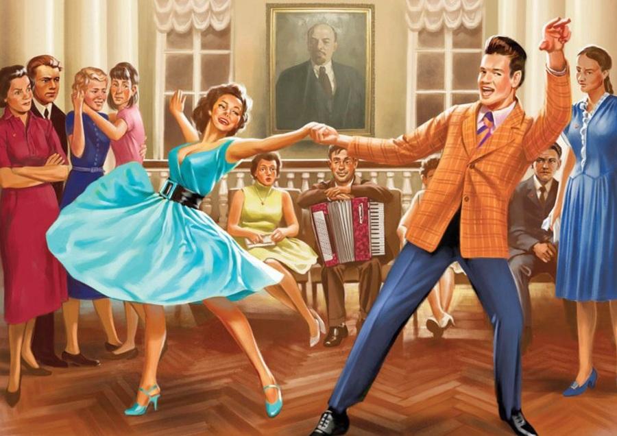 рисунок ретро танцы
