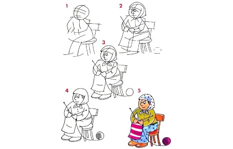 Как нарисовать бабушку поэтапно