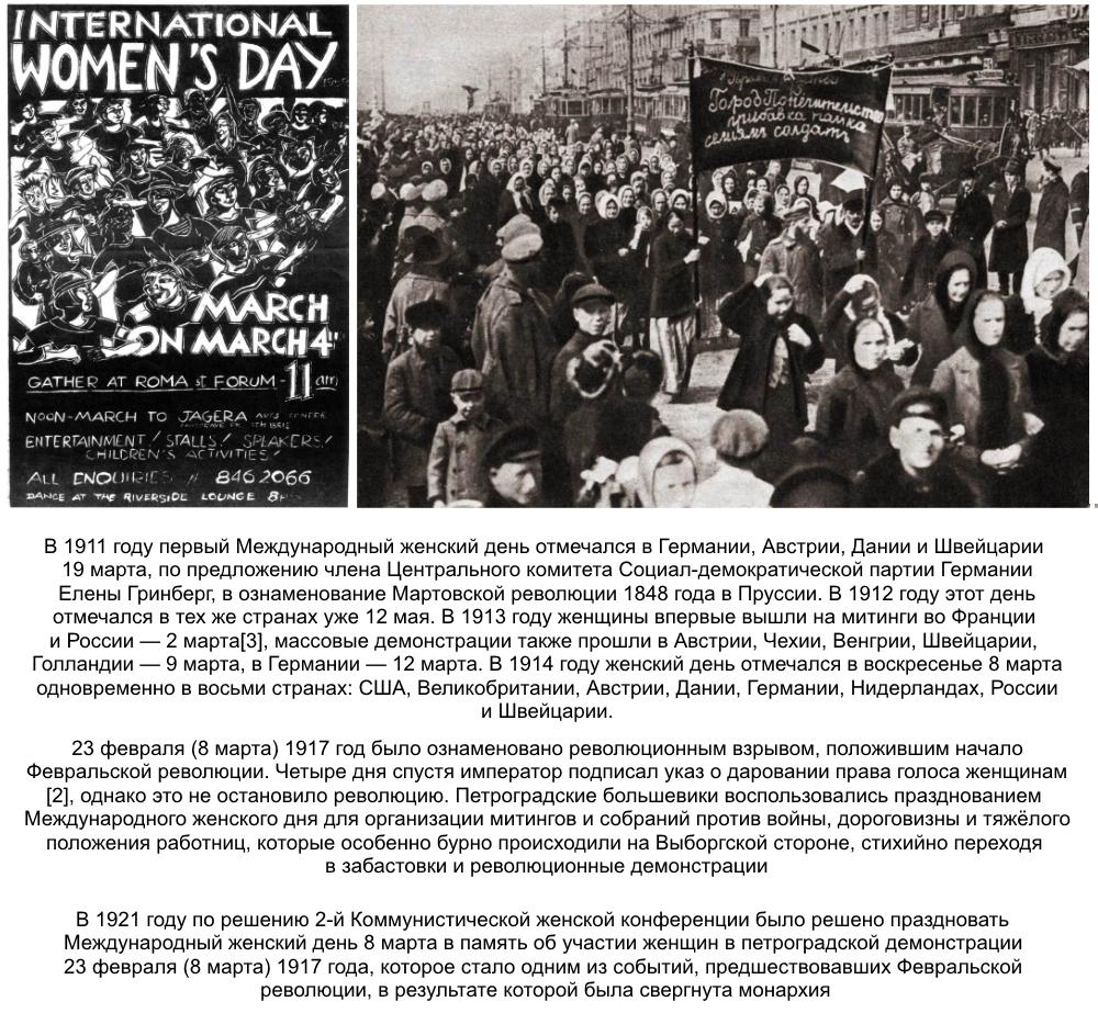 Почему женский день празднуют 8 марта