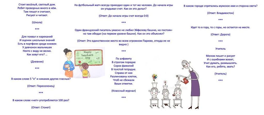 Загадки для учителей на 8 марта