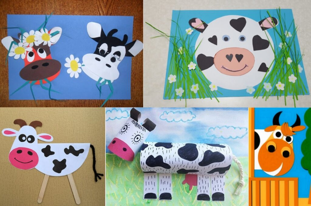 Аппликации с быками и коровами на Новый Год