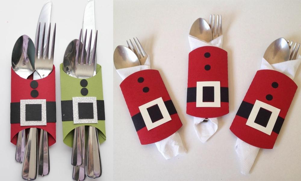 Новогодние чехлы из картона для столовых приборов своими руками