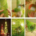 Фото 84: Елочка конус с подсветкой из сетки