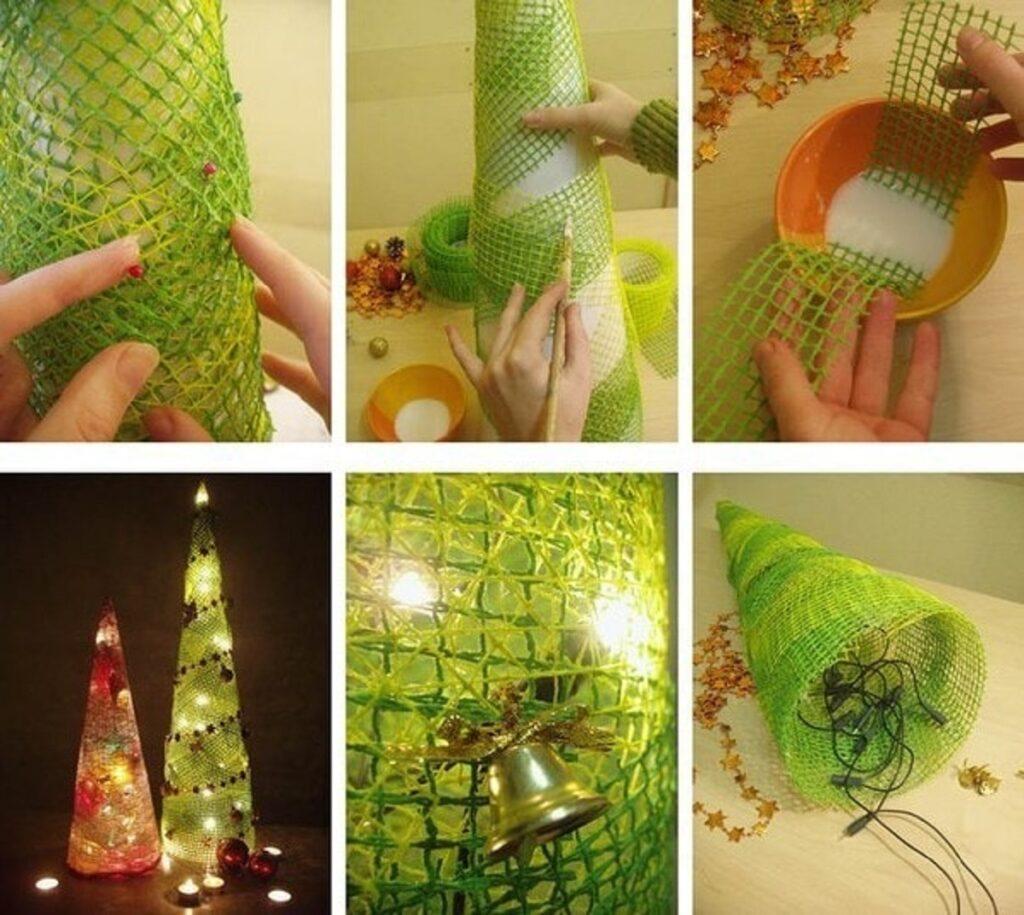Елочка конус с подсветкой из сетки