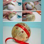 Фото 52: Новогодний елочный шарик из лент