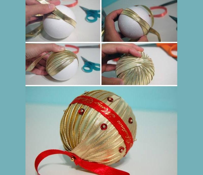 Декор елочного шара лентами своими руками