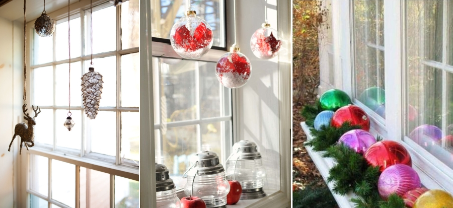 Новогодний декор окна елочными игрушками