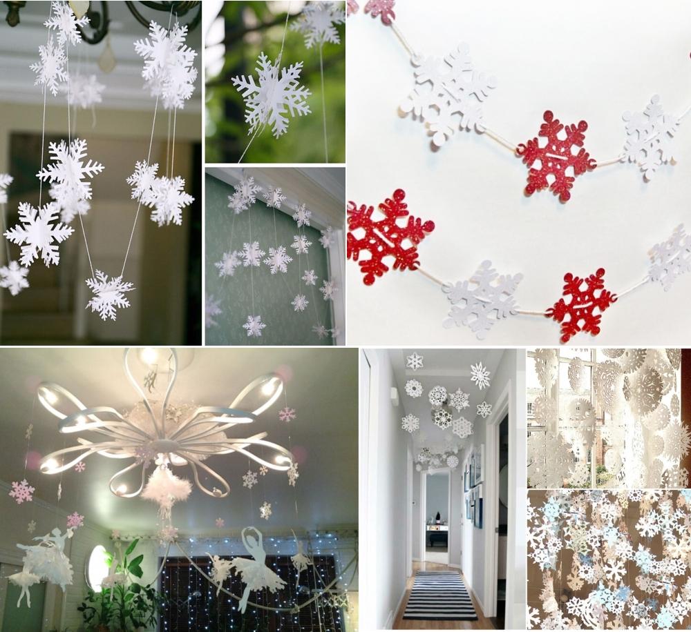 Новогоднее украшение дома снежинками