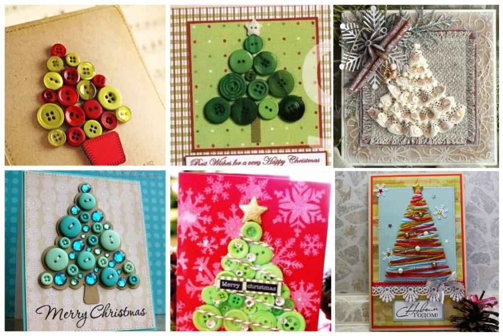 Новогодние открытки своими руками с елочками
