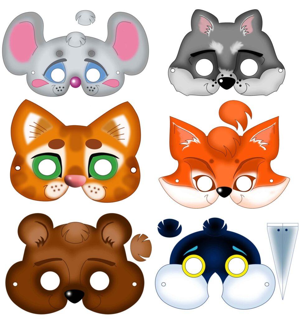 Шаблоны маски животных на Новый год скачать
