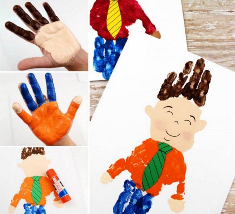 Нарисовать портрет папы ладошками и пальчиками