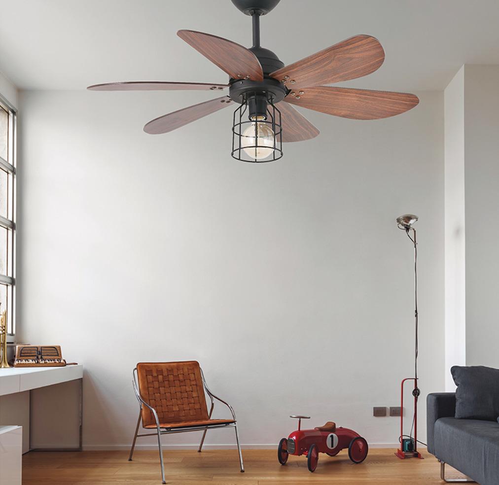 Люстра-вентилятор Chicago — современные материалы и винтажные формы в ретро-интерьере