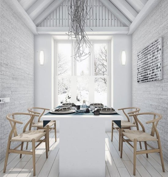 extraordinary-feminine-dining-room-with-white-interior-design-also-brick-wall-wooden-chair-plus-floor-laminating