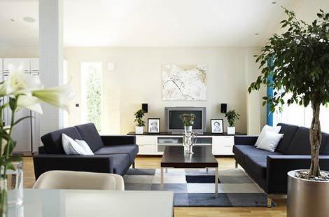 Просторная гостиная в стиле минимализм
