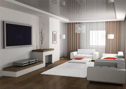 Натяжной потолок в минималистичной гостиной