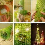 Фото 13: Изготовление елочки из цветочной сетки