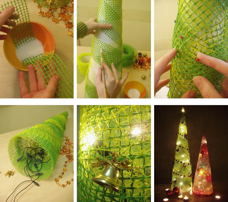 Изготовление елочки из цветочной сетки