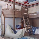 Фото 58: Кровать – чердак в виде палубы в детской в пиратском стиле