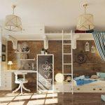 Фото 118: Зонирование комнаты в детской в морском стиле для школьника