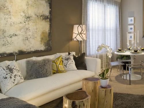Гостиная в пастельных тонах в современном стиле