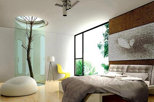 спальня в пастельных тонах в современном стиле