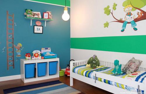 Зонирование в детской комнате  с использованием фотообоев