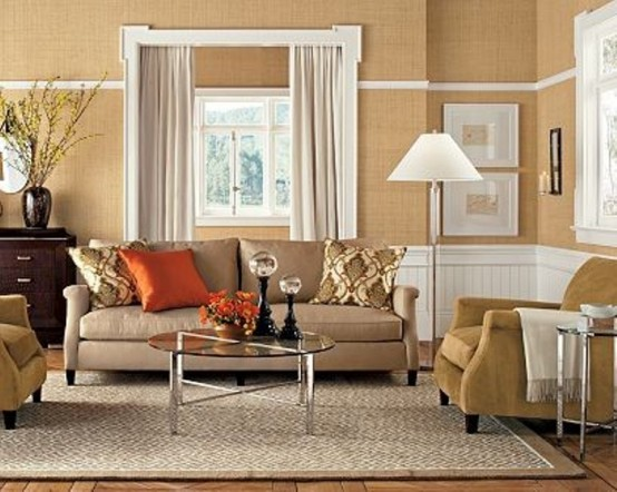 Inspiring-beige-living-room-design-with-brown-white-wall-carpet-window-curtain-sofa-pillow-orange-pillow-and-hardwood-flooring