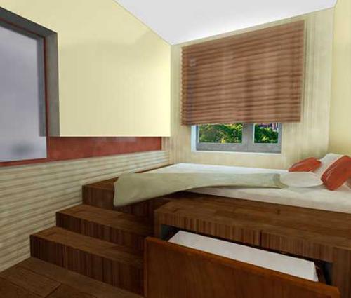 Подиум для кровати в маленькой узкой спальне