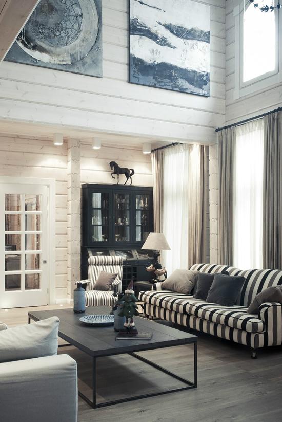 Гостиная в деревянном доме