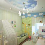 Фото 85: Потолок - небо натяжной в комнате для новорождённого