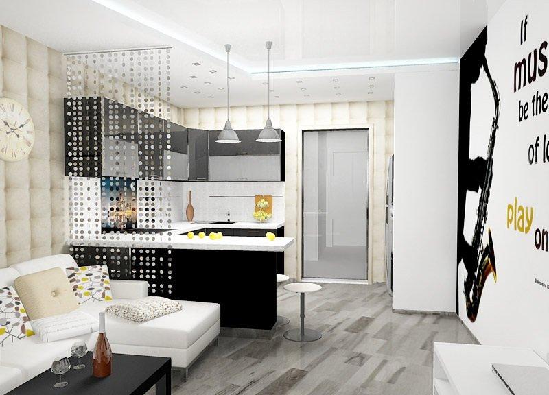 Отделение зоны кухни с помощью кисеи