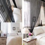 Фото 79: Сочетание нитяных штор и жалюзи в спальне