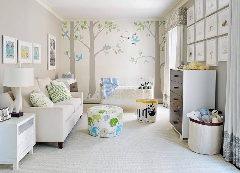 Зонирование комнаты для новрождённого