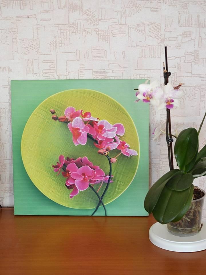 Картина из ткани орхидея
