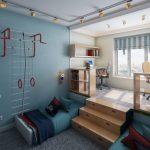 Фото 58: Зонирование комнаты для двух детей подиумом