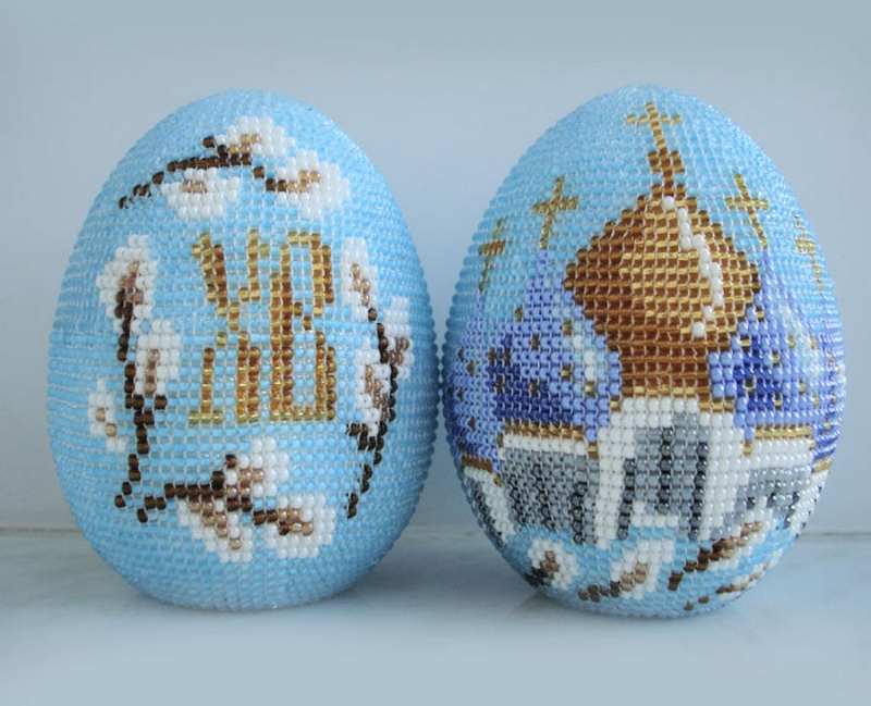 Пасхальные мотивы яиц с бисером