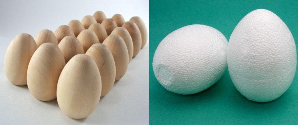 Пенопластовые и деревянные заготовки яиц