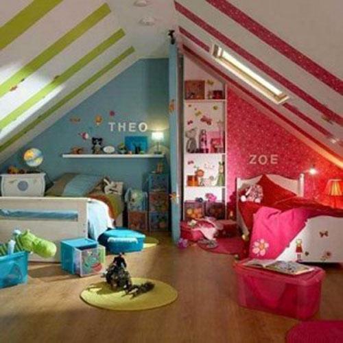 Детская комната для двойняшек-дошкольников