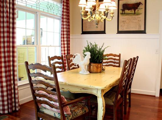 Декор в стиле кантри в интерьере кухни-столовой
