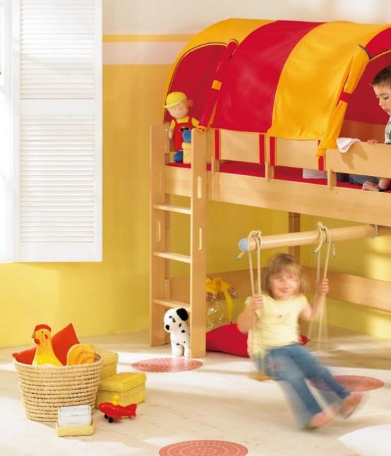 Для оформления игровой зоны в детской можно использовать яркие цвета