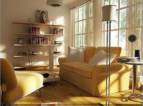 Асимметричная расстановка мебели интерьере квадратной гостиной