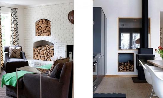 Хранение дров в нишах стены