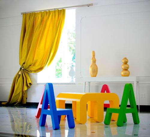 Мебель - объемные буквы в интерьере детской комнаты