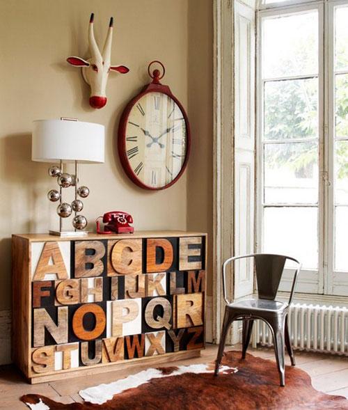 Интерьерные буквы на мебели