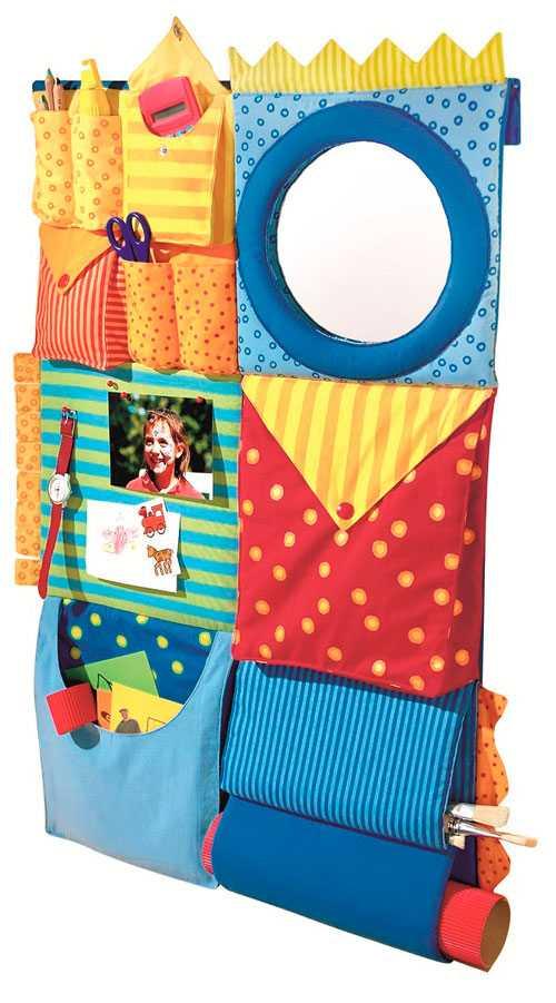 Настенные кармашки для хранения мелочей в комнате для девочек