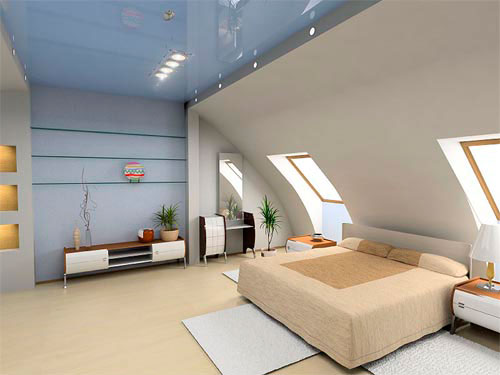 Спальня в мансарде в стиле модерн