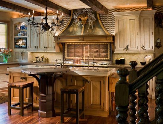 Круглый стол в интерьере кухни кантри