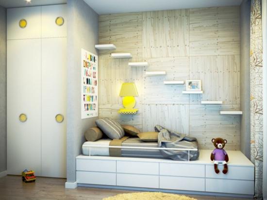 """Стена """"под дерево"""" в интерьере детской комнаты"""